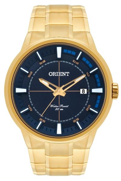 880b86ce084 Relógio Orient Masculino Dourado Fundo Azul -35105